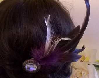 Black, and Purple Iridescent Feather Hair Fascinator with Mirrored Brooch