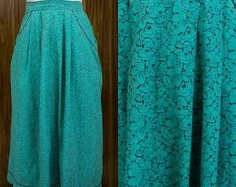 1940s Skirt | 40s Skirt | Rose Skirt | Rose Print | 40s Aqua Skirt | 40s Green Skirt | 40s Flared Skirt | 40s Blue Skirt | 40s Cotton Skirt