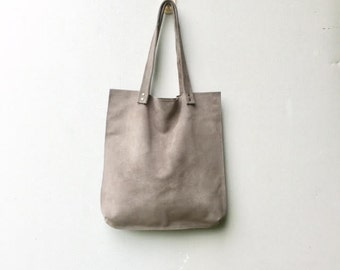 Large gray suede bag,Gray suede leather tote bag,Gray leather bag,Gray shoulder bag
