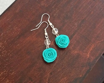 Turquoise rose earrings handmade from polymer clay, turquoise flower earrings, green rose flower earrings, Shabby Chic, bridesmaids gift