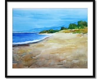 Original watercolor painting, seascape watercolor painting, contemporary art