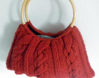 wool bamboo handle bag