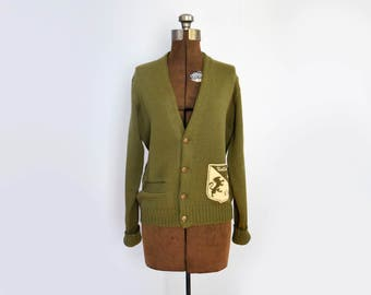 1960s Varsity Letterman Cardigan Sweater in Moss Green Wool Size XS - Large