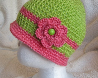 """Green and Pink Baby Hat - Fits 3-6 months - 14"""" round"""