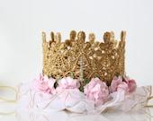 First Birthday Crown - Lace - Birthday Crown - Gold - Pink - Headband - Photo Prop - Mini - Bling - Cake Smash - 1st - Tiara - Hat - Pink