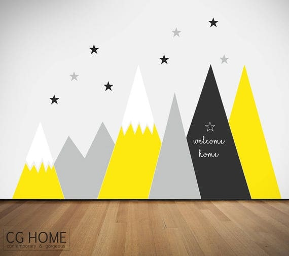 Entire Wall Protection MOUNTAIN Chalkboard Covering Wall Decal Mural Mountains Customized Personalized Washable Headboard Sticker Nursery