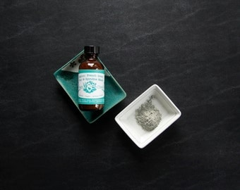 Pure| Lagoon - French Green Clay & Spirulina Mask Blend with Essential Oils, 2 oz; Great for Oily Skin, Aging Skin - High Antioxidant