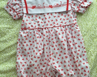 Vintage/retro baby/toddler nautical onesie/romper/jumper with overall sailboat print. Size 0/1.