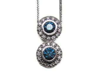 Blue diamond pendant etsy vintage 14k fancy blue diamond pendant necklace aloadofball Image collections