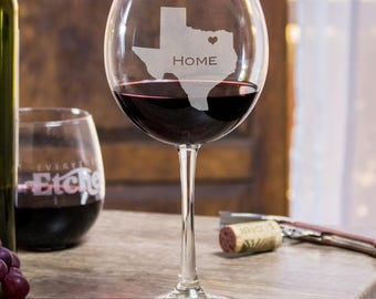 wine glasses etched, gift ideas for boyfriend, home town, 21st birthday gift for him, Texas personalized wine glass, unique gifts