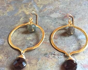 Labradorite and garnet gemstone gold statement hoop earrings