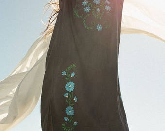 Embroidered Gauze Dress with Tassels Black & Blue
