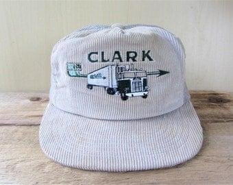 CLARK Freightways Vintage 80s Gray Corduroy Mesh Trucker Snapback Hat Adjustable Greater Vancouver Truck Transport Trucking Co Promo Cap