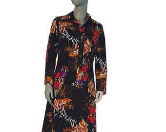 Brown Floral Vintage Dress, Long Sleeves, Front Buttons, Warm Dress, Winter Dress, Feminine Dress