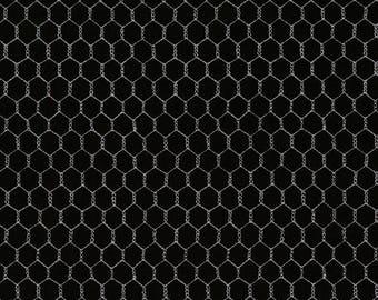 Chicken Wire Fabric Fat Quarter, Third Yard, Half Yard, By The Yard; C5606 Timeless Treasures; Novelty Fabric; Chicken Fabric; Black