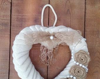 Wedding Heart Wreath - Ivory Burlap Heart Wreath - Wedding Heart Wreath - Burlap Door Hanger - Wedding Wreath - Wedding Decor - Rustic Decor