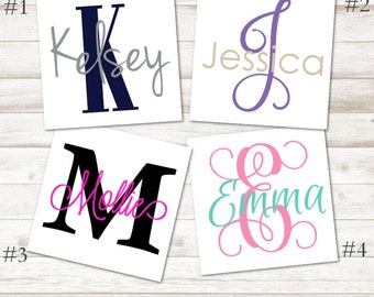Name Initial Decal - Combo Monogram Decal - Name and Initial Vinyl Decal - Name Decal - Name Laptop Decal - Name Initial Laptop Sticker D224
