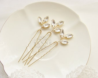 Gold Leaf Pins, Bridal Hair Piece, Unique Bridal Laurel Leaf Hair Pins, Gold Wedding Hair Accessories, Grecian Leaves, Crystal Hair Pins