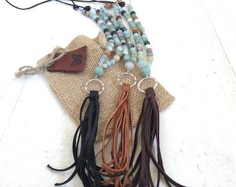 Add A Leather Tassel To Your Mala,  Leather Tassel Mala Beads, Unique Mala Beads