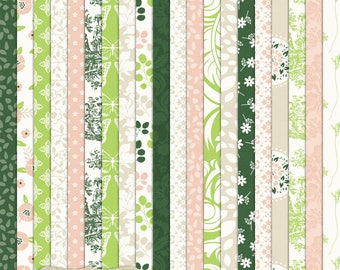 """Digital Printable Scrapbook Craft Paper - Garden Party - Pink Green Floral White Flowers Damask Leaves - 12 x 12"""" - PU/CU Commercial Use"""