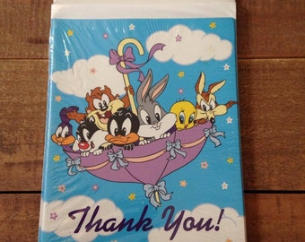 Vintage Looney Tunes Thank You Cards, Vintage Warner Bros., Pack of 8
