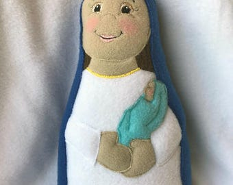 Mother Mary with Baby Jesus Dark Complected Soft Saint Doll, Mother and Child Doll, Virgin Mary Doll, Our Lady, Christmas Doll.