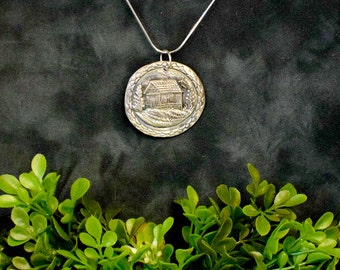Fine Silver Country Home Pendant | Precious Metal Clay
