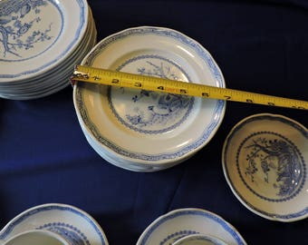 Furnivals Blue Quail China Bread and Butter Plates Scalloped Top Rim Round Backstamp 1913c Sold in Pairs Only