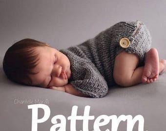 Newborn Baby romper knitting PATTERN - baby bodysuit pattern - baby knitting pattern - photo prop knitting pattern - newborn prop pattern