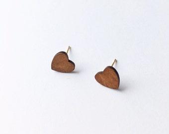Wooden Heart Earrings - Wooden earrings - Fashion earrings - Heart earrings - Post earrings - Stud earrings - Minimalist earrings