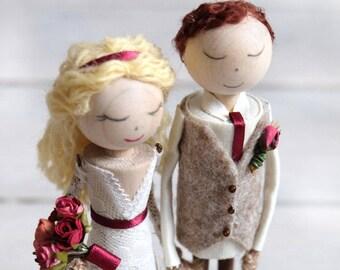 Rustic Wooden Doll Cake Topper, Personalised Keepsake