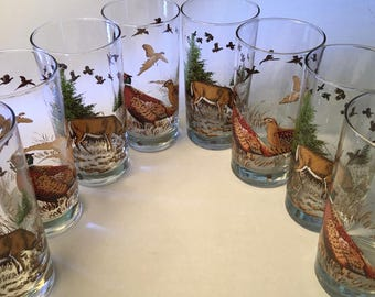 Eight amazing Libbey deer and pheasant glass highball tumblers