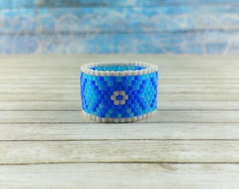 Ring Statement ring Boho ring Midi ring Wide band ring Floral ring Textured ring White blue ring Wide ring Chunky ring Hippie ring