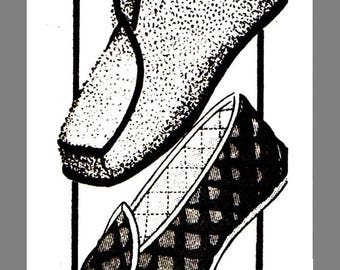 Vintage Mail Order Boot Loafer Slippers Fabric Material sewing pattern #7270