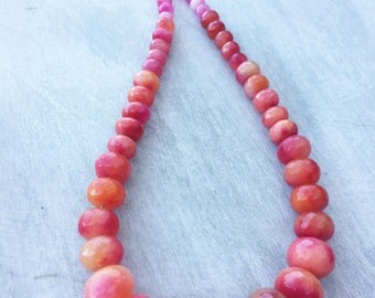 Tropical Pink and Orange Jade Graduated Faceted Rondelle Gemstone Necklace with Pink/Orange AB Crystal Spacer Beads and Silver Plate Toggle
