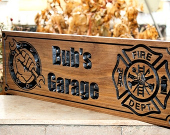 Firefighter Sign-Fire Station sign-Fire Department Sign-Custom sign-Personalized Wood Sign-Firefighter Gift-(CWD-372)
