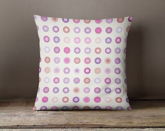 Retro pillow cover with small colourful circles, kids pillow ,geometric Pillow cover,gift for her,nursery,throw pillow,throw pillow,kids