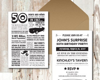 Personalized 50th Birthday Invitations, 1967 Events & Facts