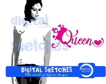 Queen Machine Embroidery Design Princess 4 Sizes