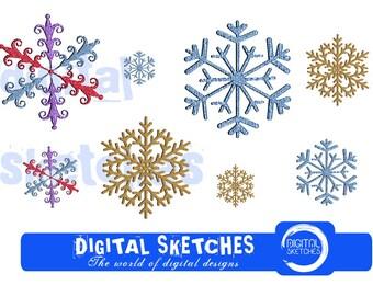 Snowflakes Machine Embroidery Design SET 4 Sizes