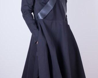 black extravagant dress/ unique dress/ oversized dress/ long sleeve dress/ midi dress/ unique dress