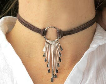 Fringe Necklace-Leather Chokers For Women-Leather CHOKER Necklace-Boho Fringe Necklace- Festival Jewelry-Leather Necklace-Festival Necklace-