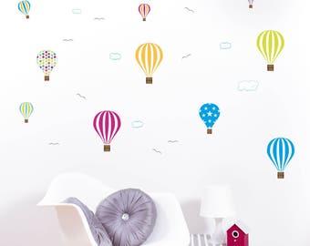 Air balloon wall stickers, hot air balloon wall decals, nursery air balloon wall stickers, pack of 10 air balloon wall stickers with clouds