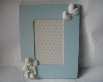 Frame birth light blue, frame baby, frame baby boy OOAK