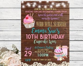 Cupcake War Personalized birthday invitation- Wooden Background ***Digital File*** (Cupcake-WoodSpring)