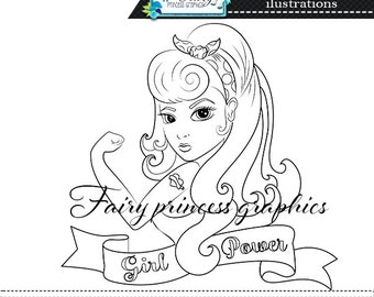 Digital Stamps, Girl Power Digistamp, Girl Digistamp, digistamps, digi stamps, line art, coloring page