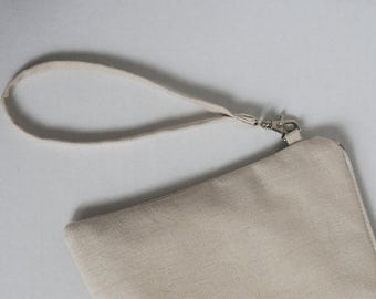 Detachable wristlet addition - add a thin linen wristlet strap and hook to your pouch or envelope clutch, bridesmaid gift bag, wedding bag