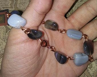 Handmade Botswana Agate copper link bracelet