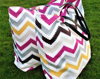 Clearance!!!! Colourful chevrons heavy cotton canvas tote bag