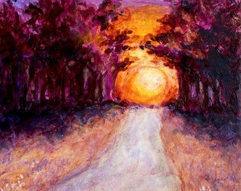 "The Way Home Original Landscape Painting Acrylic on Board 4""x4"""